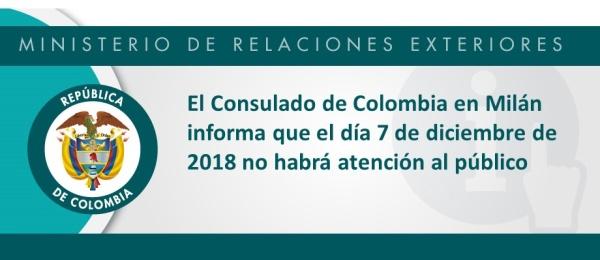 El 7 de diciembre no habrá atención en el Consulado de Colombia en Milán
