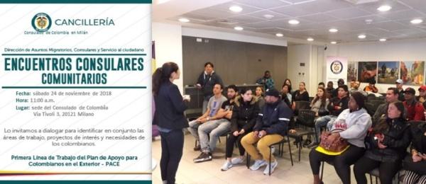 Consulado de Colombia en Milán realizará el Encuentro Consular Comunitario el 24 de noviembre de 2018