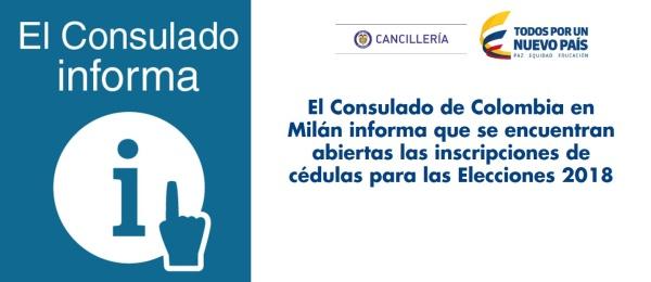 Consulado de Colombia en Milán informa que se encuentran abiertas las inscripciones de cédulas para las Elecciones 2018