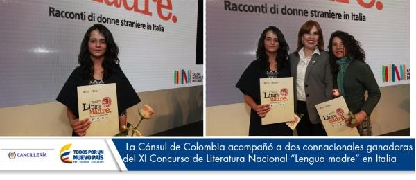 """La Cónsul de Colombia en Milán acompañó a dos connacionales ganadoras del XI Concurso de Literatura Nacional """"Lengua madre"""" en Italia"""