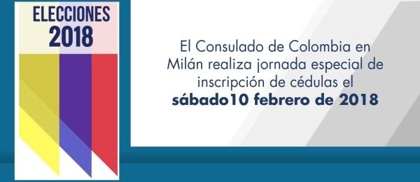 El Consulado de Colombia en Milán realiza jornada especial de inscripción de cédulas el sábado10 febrero de 2018